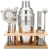 Skymore Cocktailshaker Set 9 Pcs enthält mit Cocktail Shaker + Cocktail Messbecher + Cocktail Sieb + Eiszange + Flaschenöffner + Löffel + Messer + Rack aus Holz