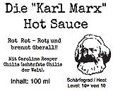 'Karl Marx' Hot Sauce / Rot Rot Rot; und brennt überall. / Inhalt 100 ml / Schärfegrad: 10+ von 10 (ca. 300 Tsd. Scoville) EINWEG