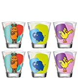 Leonardo Bambini Trink-Gläser, 6er Set, spülmaschinengeeignete Saft-Gläser, Kinder-Becher aus Glas mit Motiven Maus, Elefant, Ente 215 ml, 021421