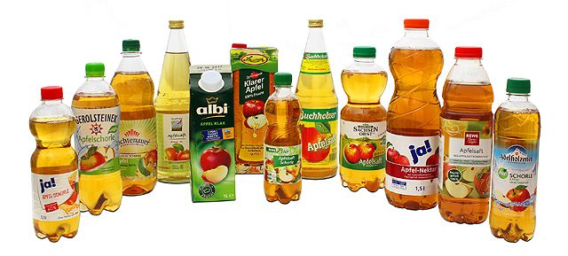Apfel-Saft, -Nektar und -Schorle geklärt mit Gelatine