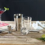 Rosenstein & Söhne Boston-Cocktailshaker-Set aus Edelstahl mit Glas